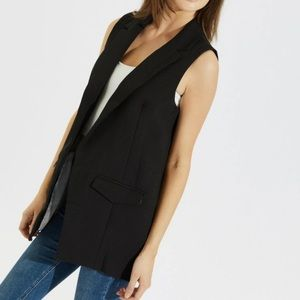 Notched collar open front vest
